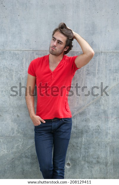 Portrait Cool Guy Posing Hand Hair Stock Photo Edit Now 208129411