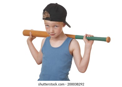 Portrait of a cool young boy with baseball bat on white background