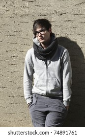 portrait of cool young man, outdoors
