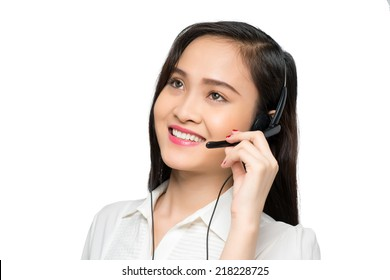 Portrait of costumer support operator with a headset