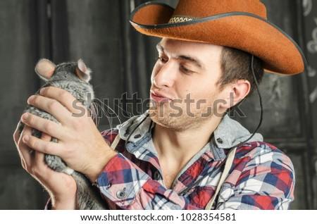 Portrait Cowboy Dark Hair Jeans Plaid Stock Photo (Edit Now ... 7740a17b2c8