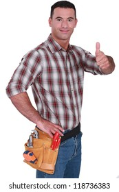portrait of craftsman thumb up isolated on white
