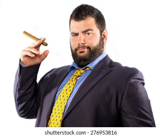 Portrait of a crazy businessman smoking a big cigar