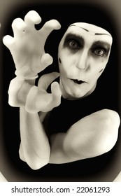 Portrait of the crazy mime in white gloves MORE  IMAGES FROM THIS SERIES IN MY PORTFOLIO
