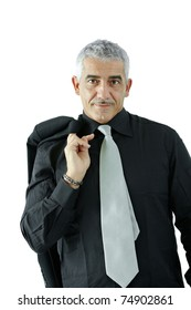 Portrait of creative looking mature businessman, smiling, isolated on white background.?