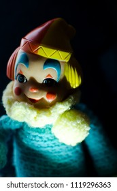 portrait of creepy clown in high contrast concept