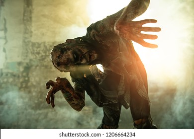 A portrait of a creepy scary zombie. Halloween. Horror film.