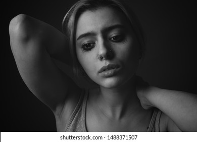 Portrait of crying young woman
