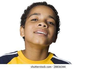 Portrait of a curious Latino boy
