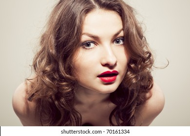 Portrait of curious woman