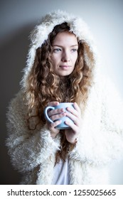 Portrait of curly hair girl. Morning time.