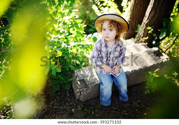 007e47bbb Portrait Curly Redhaired Baby Hat Cute Stock Photo (Edit Now) 393271102