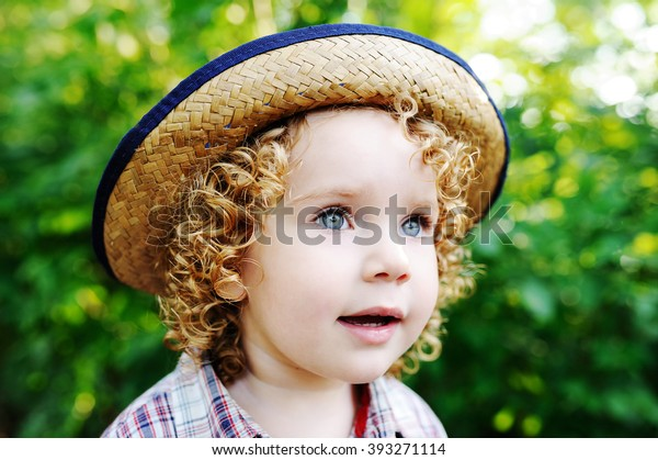 079f62251 Portrait Curly Redhaired Baby Hat Cute Stock Photo (Edit Now) 393271114