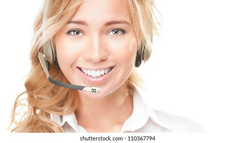 Portrait of customer service and call centre operator woman isolated on white background. Smiling girl in headset offering help and support.