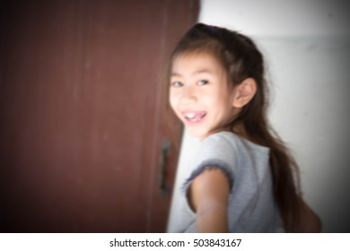 Portrait of cut little girl ,Happy girl,Blurry portrait,Asian girl