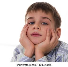 portrait of cute 8 years old boy