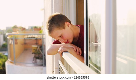 Portrait of cute 9 years old autistic boy