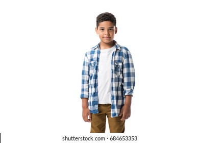 portrait of cute african american boy looking at camera isolated on white