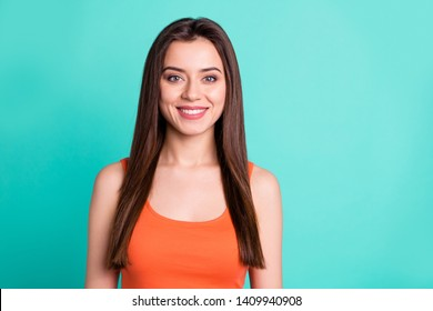 Portrait of cute attractive nice good-looking lady nice pretty adorable feel glad free time dressed fashionable youth clothing isolated turquoise background