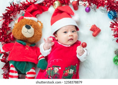 portrait of cute baby in christmas concept