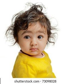 Portrait of Cute Baby Girl, Isolated, White