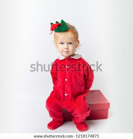 0d235a81f Portrait Cute Baby Girl Red Clothes Stock Photo (Edit Now ...