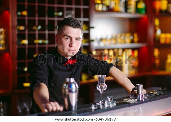 Portrait of a cute bartender.