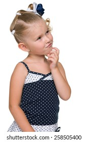A portrait of a cute blonde little girl on the white background