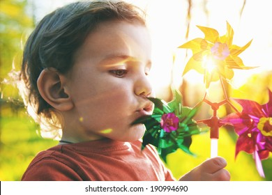 Portrait of a cute boy blowing wind wheel in sunshine