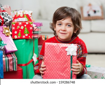 Portrait of cute boy with holding Christmas present at home