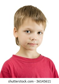 Portrait of cute boy, isolated on white background