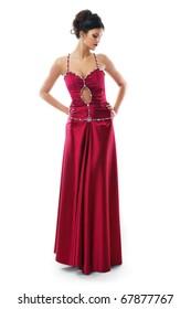 Portrait of a cute brunette in a red dress