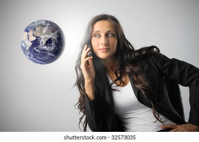portrait of cute business woman with phone