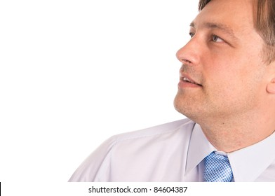 portrait of a cute businessman on white