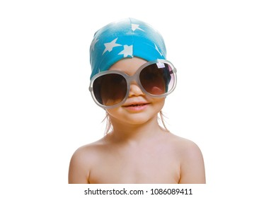 Portrait of cute caucasian baby 2-3 year old with big sunglasses on face. Isolated on white background