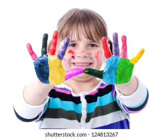 Portrait of a cute child girl with painted hands