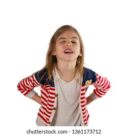 Portrait of a cute, cool girl makes a funny face. Photographed on a white background.