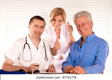 portrait of a cute doctor and citizens
