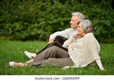 Portrait of cute elderly couple in park