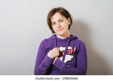 portrait of a cute girl in a hoodie