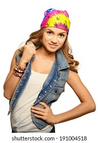Portrait of cute girl in jeans vest and bandana