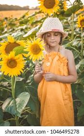 Portrait of cute girl in sunflower field