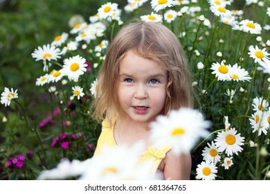 Portrait of cute happy little girl. Glade of chamomiles, outdoor