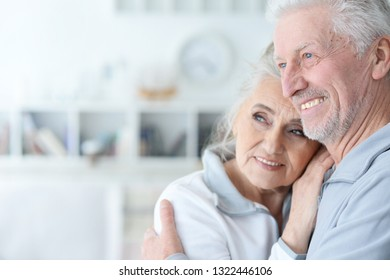 Portrait of cute happy senior couple posing at home