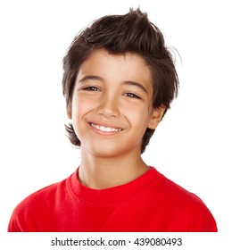 Portrait of a cute happy smiling boy isolated on white background, teenager in good mood, carefree childhood