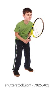 Portrait of a cute kid with tennis racquet isolated on white background