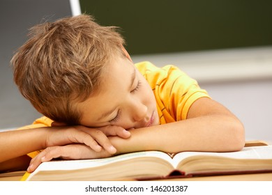 Portrait of cute lad sleeping with his head on open book