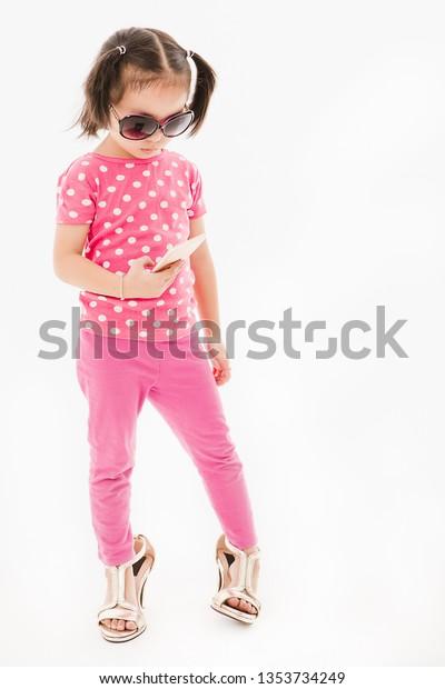 a6b3a53d Portrait Cute Little Asian Girl Wearing Stock Photo (Edit Now ...