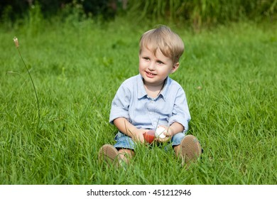 portrait of cute little boy on the grass, the concept of childhood and innocence, baby food