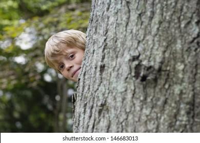 Portrait of a cute little boy peeking from behind tree